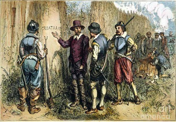 Jedinou zanechanou stopou po osadnících byla písmena vyřezaná do stromů.