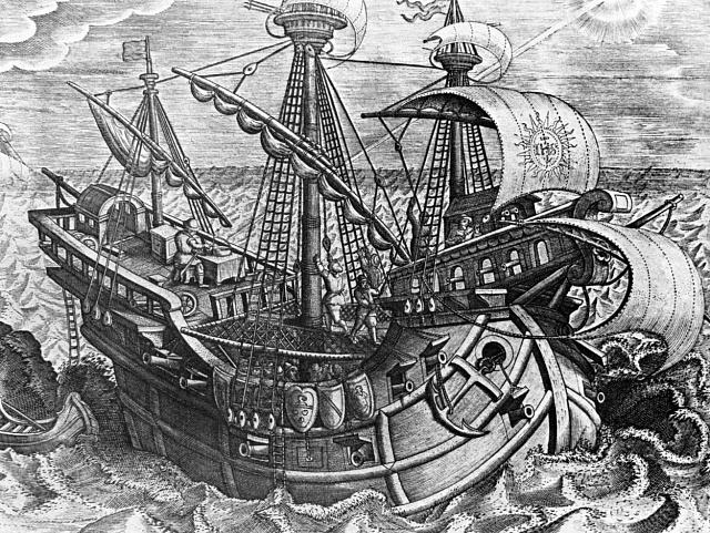 Španělské obchodní lodě bývaly vybaveny děly.