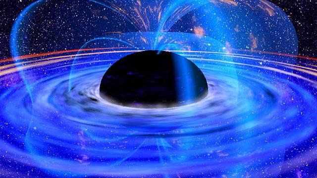 Černou díru si můžeme představit jako velký černý objekt, který je však téměř neviditelný. Pohlcuje totiž světlo a díky silnému gravitačnímu poli z něj nikdy ani neunikne.