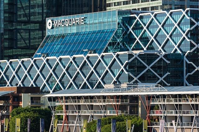 Pohled na centrálu banky Macquarie vnejvětším australském městě Sydney.