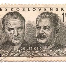 Klement Gottwald se Stalinem na poštovní známce