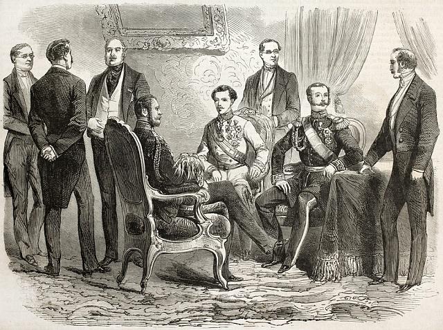 Císař František Josef I. a ruský car Alexandr II. při schůzce v Zákupech