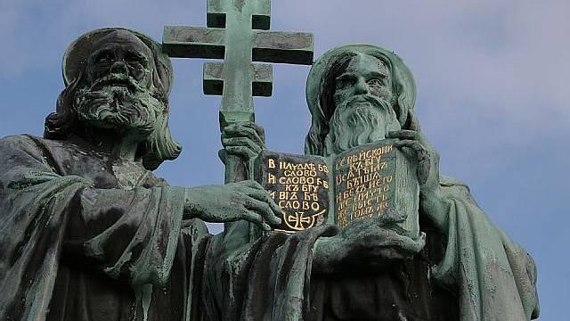 Socha svatých Cyrila a Metoděje na Radhošti v Beskydech