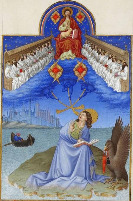 Vidění Janovo v Knize hodinek vévody z Berry (Francie, kolem 1430)