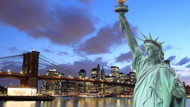 New York - most v Brooklynu a Socha Svobody