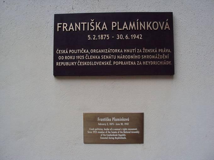 Pamětní deska Františky Plamínkové