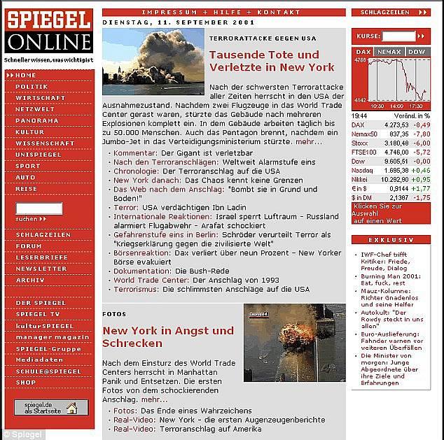 Webová stránka serveru Spiegel