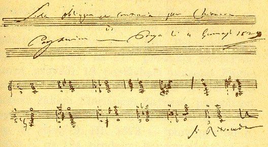 Autograf kytarové skladbičky, kterou Paganini složil v Praze 4. ledna 1829