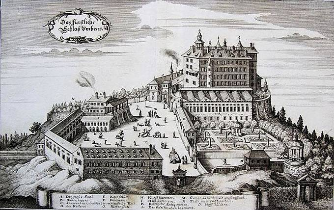 veduta zámku Ambras v Tyrolsku