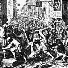 Jiné vyobrazení středověkého pogromu
