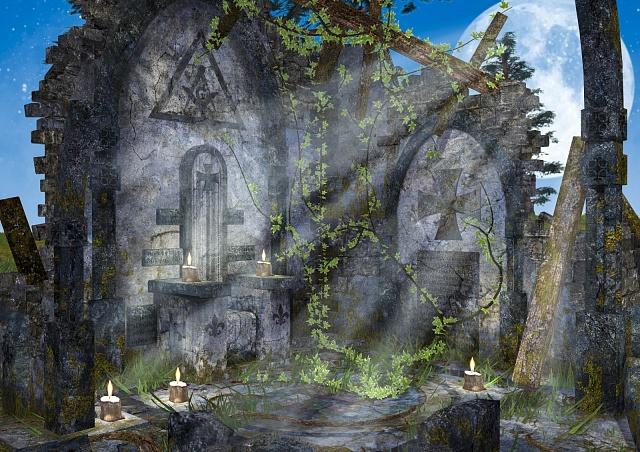 Opuštěný templářský klášter ve světle úplňku, ilustrační foto