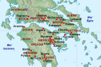 Mapa umístění archeologických nalezišť