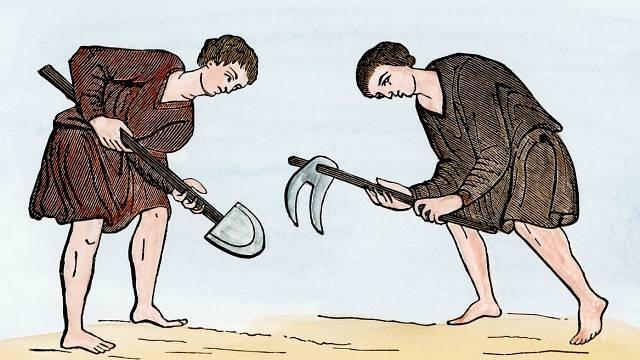 Středověcí poddaní často vykonávali otrockou práci.