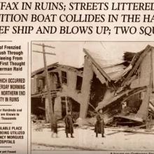 novinová zpráva o výbuchu v Halifaxu z 6. prosince 1917