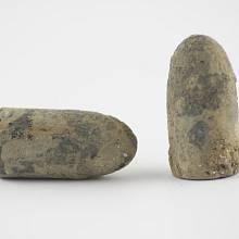 Tříštivé střely neboli dum-dum střely jsou projektily upravené tak, aby se při průchodu cílem deformovaly. Foto střely z 19. století.