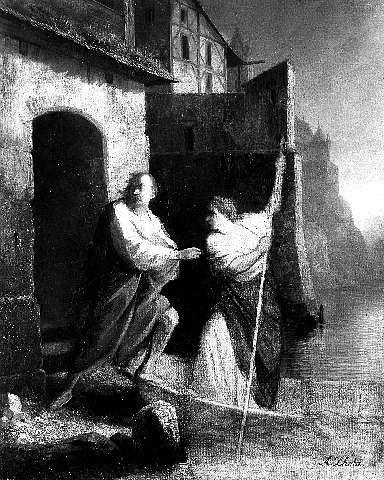 Lazebnice Zuzana pomáhá Václavu IV. (obraz od Antonína Lhoty)
