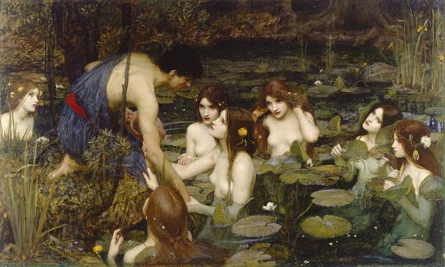 Obraz Hylás a nymfy (1896) Johna Williama Waterhouse, který musel zmizet z britské galerie