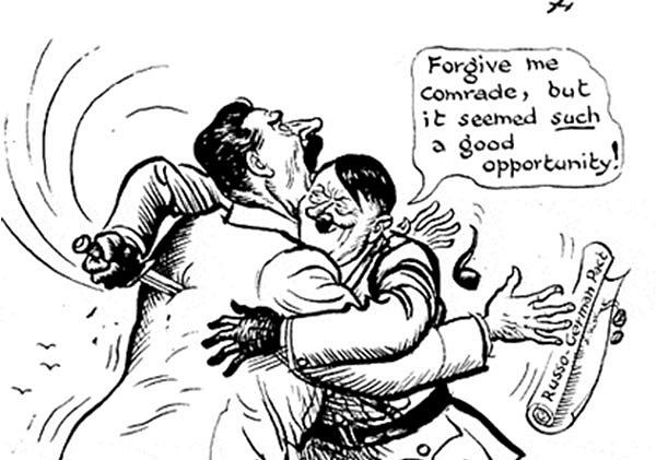 Dobová karikatura německého útoku na SSSR.