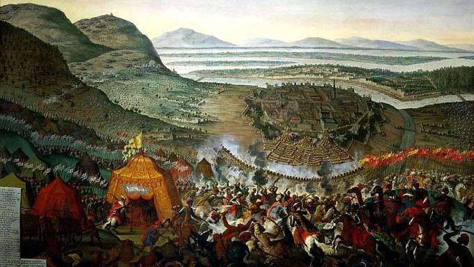 Obraz zachycující osmanské ležení před Vídní v roce 1683. V popředí polská armáda krále Jana III. Sobieského.