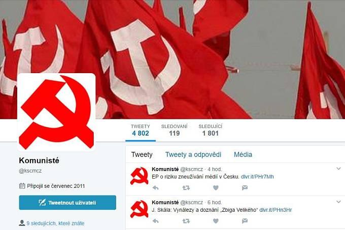 Twitterový účet, k němuž se KSČM oficiálně nehlásí