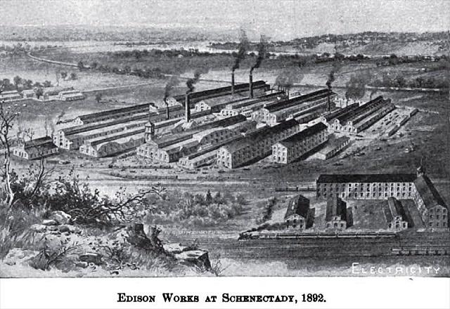 Edisonův podnik General Electric ve Schenectady vroce 1892