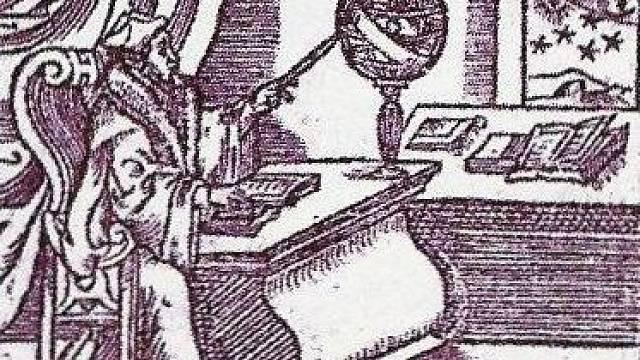 Nostradamus, věštec, astrolog a lékař při práci.