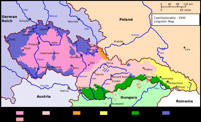 Mapa národnostních menšin ČSR