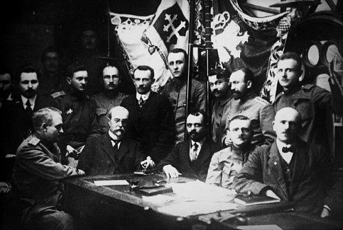 Podpis dohody mezi Čechy a Slováky vamerickém Pittsburgu 31.5.1918