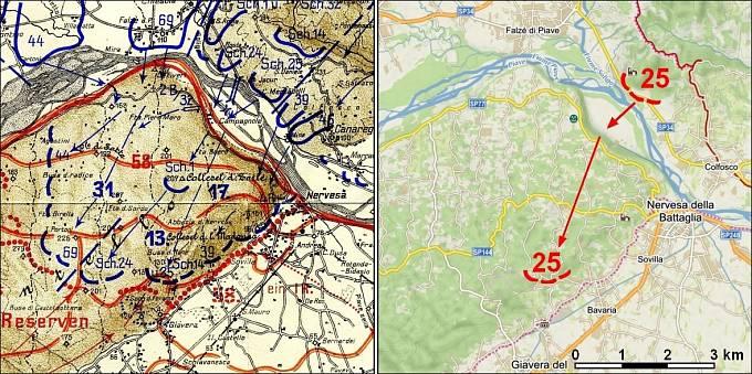 Rozmístění pozic rakouských jednotek během útoku na výšinu Montello (vlevo) a zobrazení výchozí a nejzazší pozice 25. střeleckého pluku na současné mapě (vpravo).