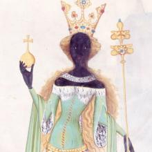 České středověké malby, použité v argumentaci pro hře. Zde obraz Královny ze Sáby z 15. století