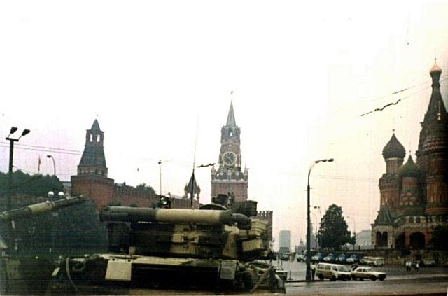 Tanky na Rudém náměstí vMoskvě 20.srpna 1991