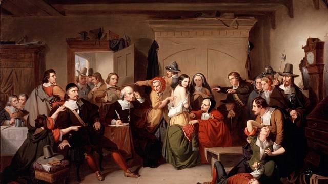 Ohledávání čarodějnice (1853) od T. H. Mattesona, inspirované procesy v Salemu