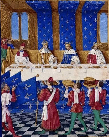 Karel IV., Karel V. Francouzský a Václav IV. na banketu