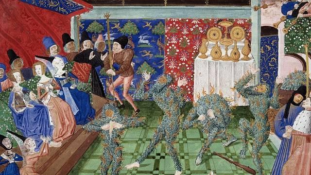 Bál světlušek - Bal des Ardents, miniatura z let 1450–80, na které jsou vidět ohnivé kostýmy tanečníků