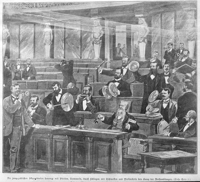 Obstrukce mladočeských poslanců vříšské radě ve Vídni roku 1900.Čeští zákonodárci byli pověstní používáním činelů