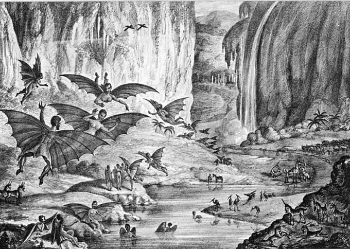 Ilustrace měsíčních lidí, tvorů a přírody