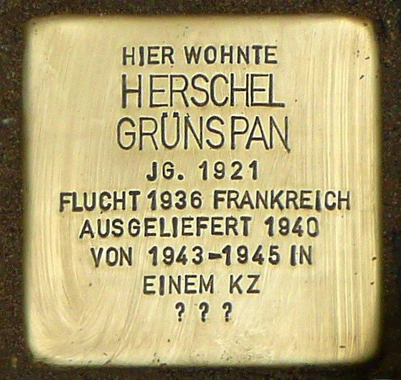 Pamětní destička Herschela Grynszpana