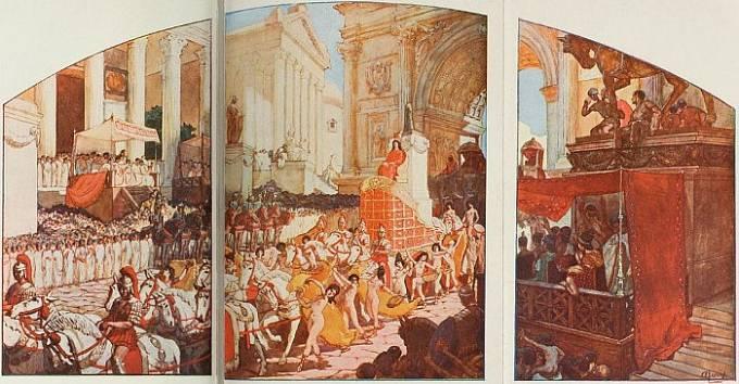 Císař Elagabalus přijíždí do Říma, ilustrace: Auguste Leroux