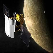 Umělecká představa příletu sondy Messenger k Merkuru.