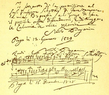 Paganiniho vzkaz jeho pražskému životopisci Schottkymu