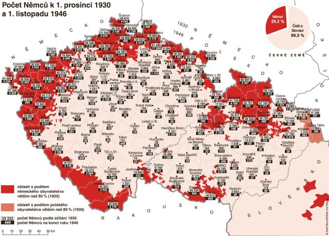Počet Němců včeských okresech vroce 1930a vroce 1947