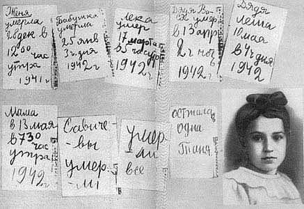 Deník Táni Savičevové, která během obléhání Leningradu přišla téměř ocelou rodinu.