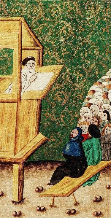 Mistr Jan Hus na kazatelně, obrázek z Jenského kodexu z roku 1490