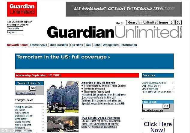 Webová stránka listu Guardian