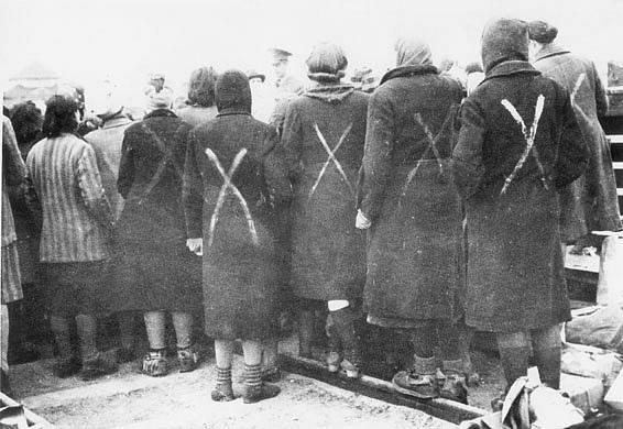 Ženy z Ravensbrücku čekají na evakuaci z tábora švédským Červeným křížem.
