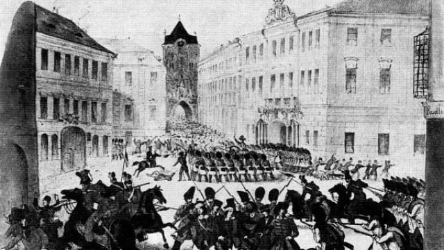 Barikáda před Prašnou bránou v Praze roku 1848