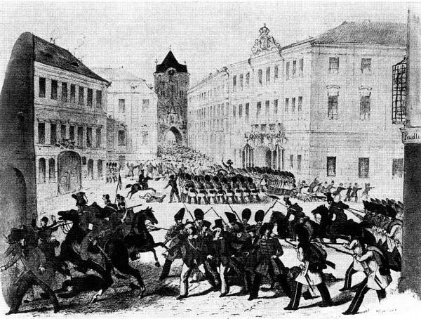Barikáda před Prašnou bránou vPraze roku 1848