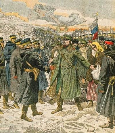 Kapitulace ruské pevnosti a přístavu Port Arthur 2.ledna 1905na dobové kresbě.