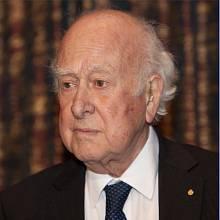 Peter Higgs, nositel Nobelovy ceny, v roce 2013.