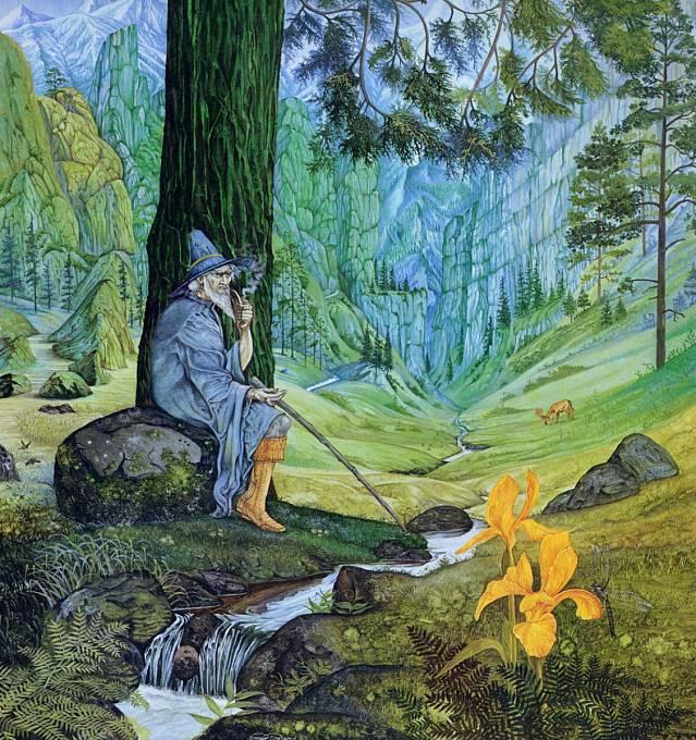 """Nová verze Madlenerova obrazu (s již """"zavedeným"""" Gandalfem) od malíře Rogera Garlanda"""